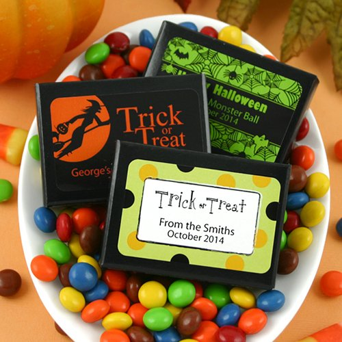 Halloween Candy Coated Chocolate in Box with Personalized Label