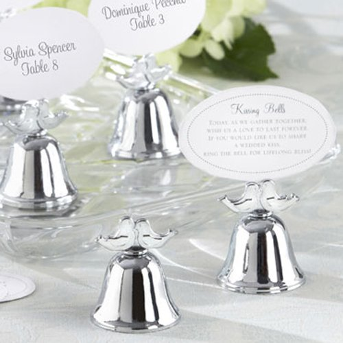 Lovebirds Silver Wedding Bell Place Card Holders