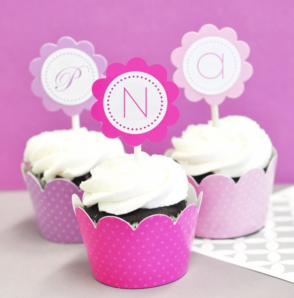 Personalized Bridal Shower Cupcake Wrappers and Toppers