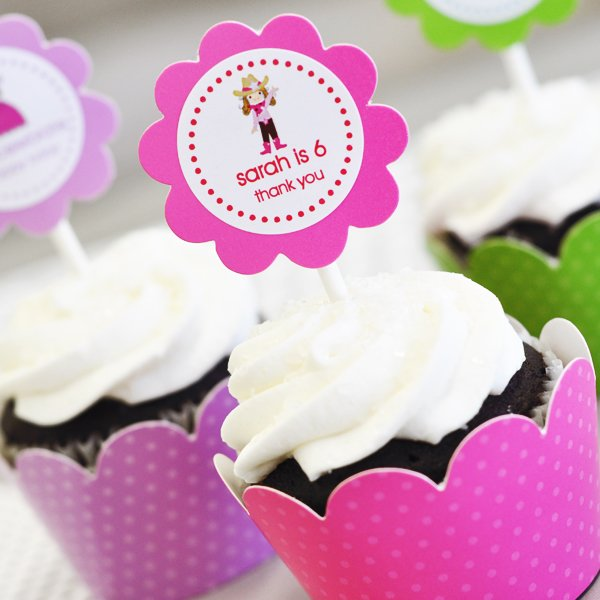Personalized Kids Birthday Cupcake Wrappers and Toppers