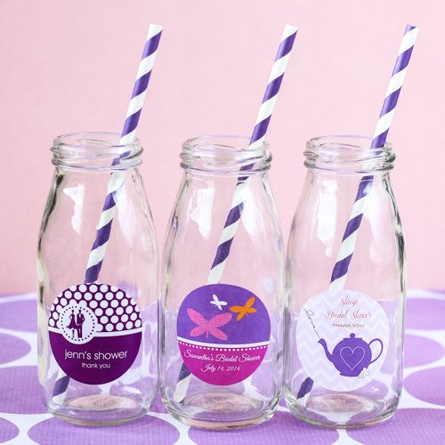 Personalized Bridal Shower Milk Jars and Straws