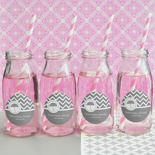 Personalized Baby Shower Milk Jars and Straws