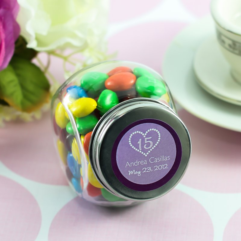 Personalized Mini Glass Teen Birthday Candy Jar