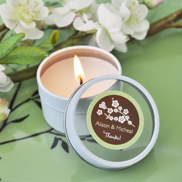 Mini Round Personalized Clear Top Wedding Candle Favor