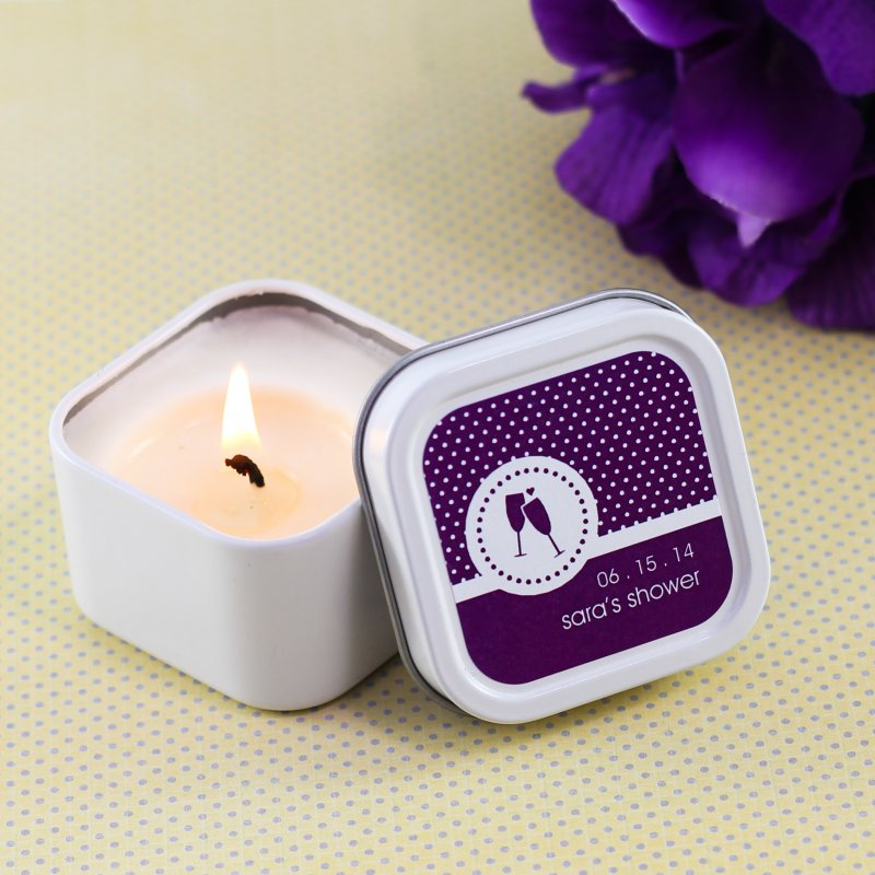 Mini Square Personalized Candle Bridal Shower Favor