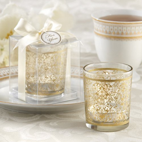 Golden Renaissance Glass Tea Light Holder
