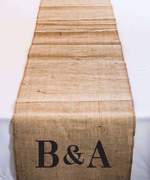 Personalized Burlap Table Runner with Monogram