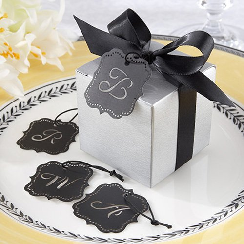 Silver Favor Box Kit with Laser-Cut Monogram Tag