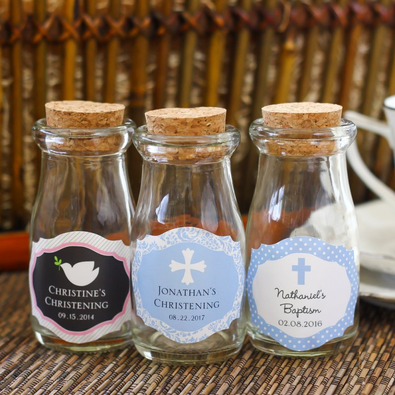 Personalized Vintage Milk Favor Jars