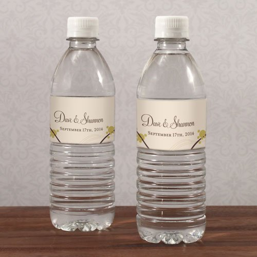 Personalized Love Birds Water Bottle Labels