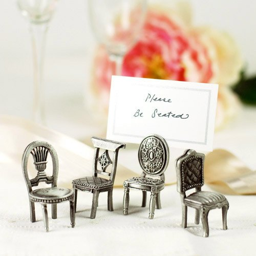 Pewter Antique Place Chair Place Card Holders
