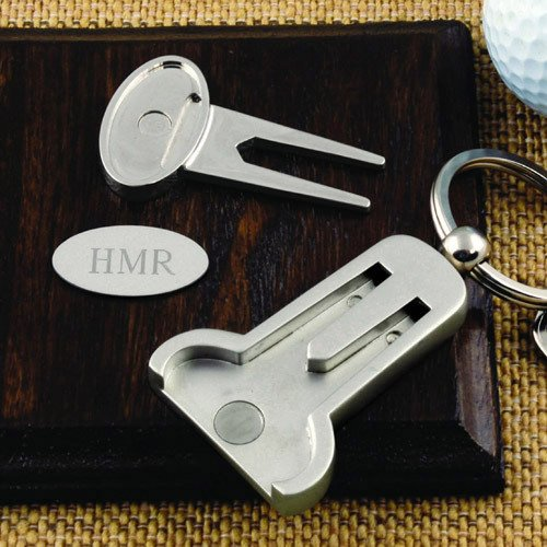 2-in-1 Engraved Golf Tools Key Ring
