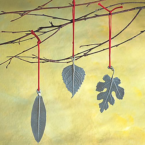 Designer Pewter Leaf Ornaments